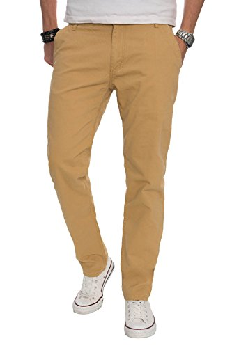 A. Salvarini Herren Designer Chino Stoff Hose Chinohose Regular Fit AS016 [AS016 - Beige - W36 L30]