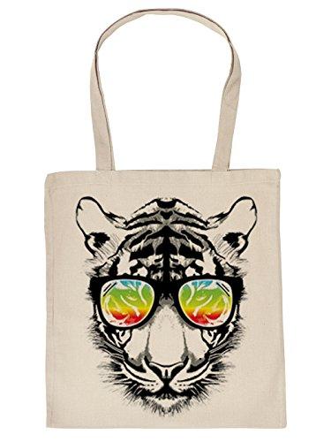 Stofftasche mit buntem Katzen-Motiv: Retro Tiger mit Sonnenbrille - Einkaufstasche aus Baumwolle - Farbe: creme