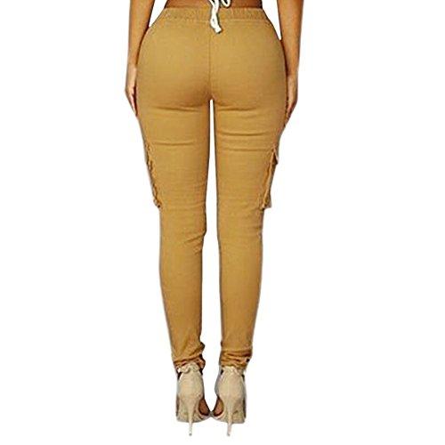 Minetom Donna Moda Delle Signore Perfetto per Casual Tasche Lungo Skinny Pantaloni Matita Cargo Pants con Coulisse Cachi