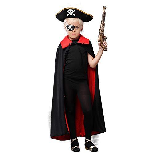 JLDWHS Halloween Umhang Piraten Set Cos Kind Schwarzer Umhang Jack Karibik Captain @ - Mädchen Rosa Karibik Piraten Kostüm