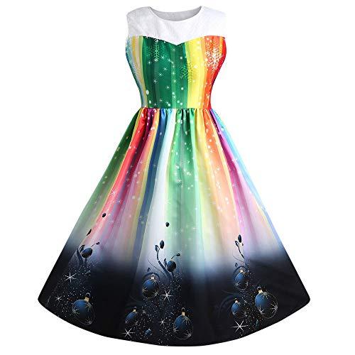 Damen Regenbogen herrlich Weihnachten Rock Quaan Prinzessin Bogen Ball Klassisch sexy Retro Jahrgang...
