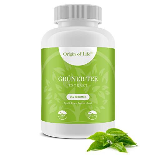 Grüner Tee Extrakt - 360 Tabletten XL Packung für 3 Monate - Vegan & Hochdosiert mit 7200mg Grüntee Pulver je Tag / Diät - Keto - Entwässerung -
