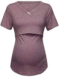 VECDY Ropa Premamá, Camisetas Mujer Verano, Manga Corta, Color Puré, Tops, Lactancia Materna, Moda Suave Blusas Tops Mujeres…