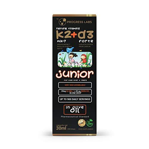 K2 + D3 Natürliches Vitamin / K2 MK-7 20µg + D3 800 I.E. / FORTE JUNIOR Tropfen 30 ml KINDER (Lanolin Bacillus subtilis natto) in Pharmazeutisches Olivenöl VEGAN NO GMO HIT 2019