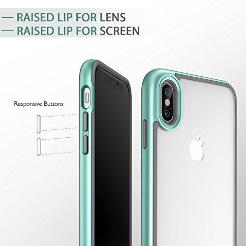 Coque iPhone X Noir, ESR iPhone 10 Coque Silicone Rigide Transparente Double Couche, Housse Etui de Protection Bumper Anti Choc [Protection Complète] [Anti Rayures] [Anti Dérapant] pour Apple iPhone X Vert Menthe