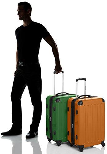 HAUPTSTADTKOFFER - Alex - 2er Koffer-Set Hartschale glänzend, TSA, 65 cm, 74 Liter, Aubergine-Silber Grün-Orange