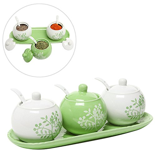 Set of 3 Lime Green & White Ceramic Floral Tree Motif Spice Jars / Condiment Pots w/ Serving Spoons, Tray by MyGift Lime Tray Set