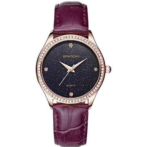 XMYL Damen Uhr Sternenhimmel Quarz Uhr Mode Diamant Dekoration Wasserdicht Beobachten,Purple