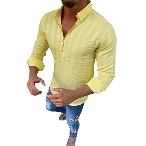 n Hemd Langarm Stehkragen V-Ausschnitt Mit Knopfleiste Afarbig Langarmshirt T-Shirt Lange äRmel Sommer Regular Fit Casual Freizeithemd(Gelb,XXXL) ()