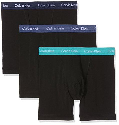 Calvin Klein Herren Hüft-Shorts 3p Boxer Brief, 3er Pack, Schwarz (Black W Magestic / Catalan / Placid Wb Mpj), Medium (Calvin Klein-unterwäsche Männer Boxer)