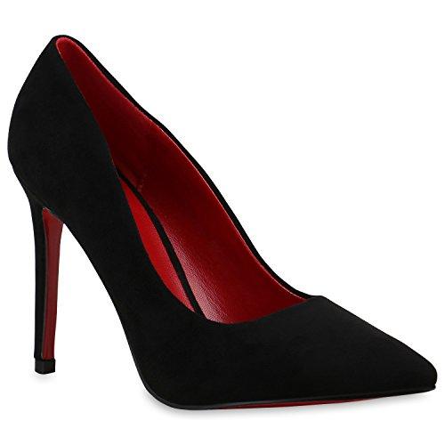 Spitze Pumps Damen High Heels Riemchenpumps Lack Cut-Outs Quasten Riemchen Stilettos Rothe Sohle Schuhe 129732 Schwarz 40 | Flandell