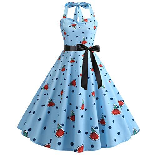 (OverDose Damen Urlaub Karneval Schlank Stil Frauen Vintage Floral Bodycon Lässige Abendgesellschaft Prom Maskerade Tanz Unregelmäßigen Swing Dress Dirndl(A-Blau,EU-40/CN-XL))