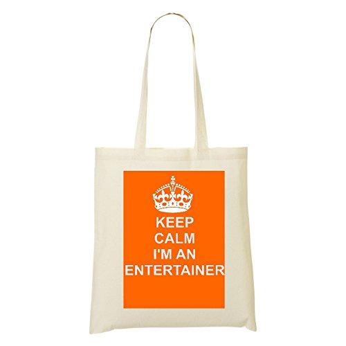 Entertainer (Job/Karriere) Baumwolle Tasche Orange Design auf natürlicher Baumwolle Schulter Tasche