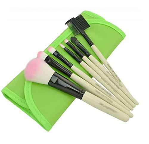 Petit kit de pinceaux de maquillage dans sac à roulettes Vert 7 pièces, maquillage, les yeux, Brosses, ombre à paupières Cosmetics