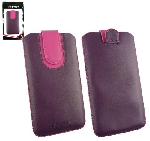 Emartbuy® Lila / Hot Rosa Premium PU Leder Tasche Hülle Schutzhülle Case Cover ( Size 5XL ) Mit Ausziehhilfe geeignet für Allview P6 QMax Smartphone
