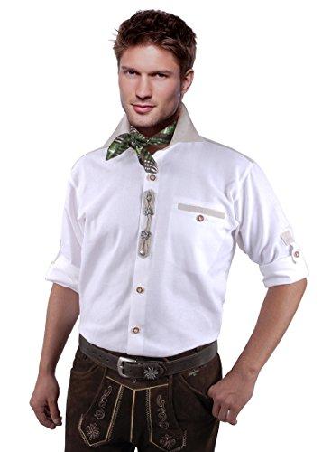 Moschen-Bayern Herren Hemd Trachtenhemd Langarm Kurzarm Wiesn Trachten Männer Oktoberfest Weiß