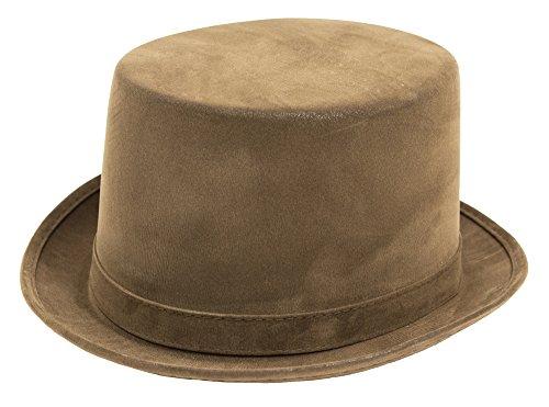 Zylinder im Velour Leder Look - Braun - Toller Hut passend zum Thema Barock Mittelalter Steampunk