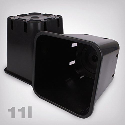 Pflanztopf Kunststoff viereckig/schwarz, 11 Liter