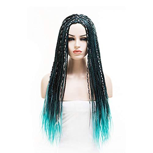 Damen Perücke Braid Cosplay Perücke schwarz grau blau Tricolor handgefertigt