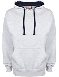 FDM Unisex Contrast Hoodie Heather Grey/Navy XL