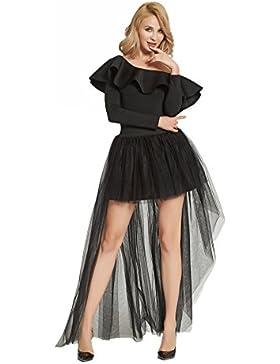 FOLOBE Falda de tul con lazo de cola de milano Falda larga de encaje con espalda sexy