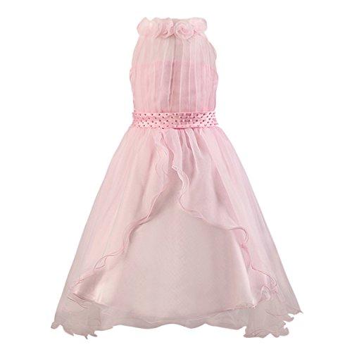 Katara 1326 - Schleier Blumen Mädchen festliches Abend Kleid, 128/134, rosa, (Herstellergröße: 140) (Prinzessin Toadstool Kostüme)