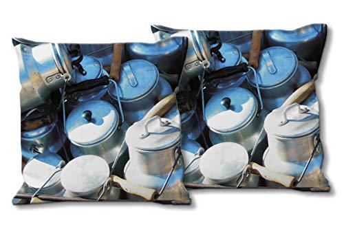 Glücksvilla Künstler-Foto-Kissen Set, (2 STK.) 40 x 40 cm, Premium Zierkissen Motiv: Milchkannen