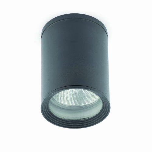 Plafón moderno de exterior fabricado en aluminio inyectado y difusor de cristal transparente.