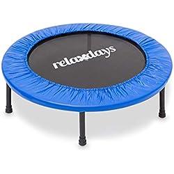 Relaxdays Trampoline pour usage intérieur & extérieur Sport fitness Entraînement charge maximale 100 kg 96 cm de diamètre, bleu