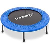 Relaxdays Fitness Trampolin, 96 cm Durchmesser, Indoortrampolin, belastbar bis 100 kg, Fitness und Ausdauertraining, blau
