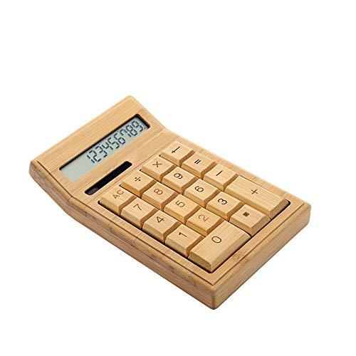 Yangyme Büromaterial Funktionaler Tischrechner Mit Solarbetrieb, Bambus-Taschenrechner Mit Großem Display Mit 12 Ziffern