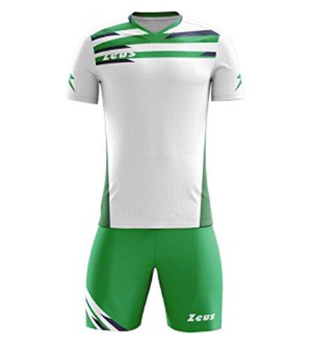Zeus Kit Itaca Herren Kinder Trikot Shirt Hosen Klein Armel Kit Fußball Hallenfußball Weiss-Grün-Blau (M)