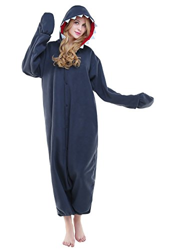 (Canasour Polar Fleece Brown Sloth Women's Unisex Pajamas (M, Shark))