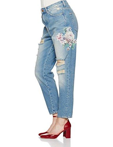 New Look Damen Jeans mit Geradem Schnitt (Straight) Floral Blue (Mid Blue)
