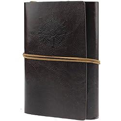 Malloom®Retro Cubierta de Cuero de la PU Cuaderno Agenda Bloc de Notas Náutico Revista Diario Timón de Cuerda (café)