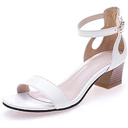 Sommer Damen Knöchelriemchen Peep Toe Pumps Blockabsatz Sandalen