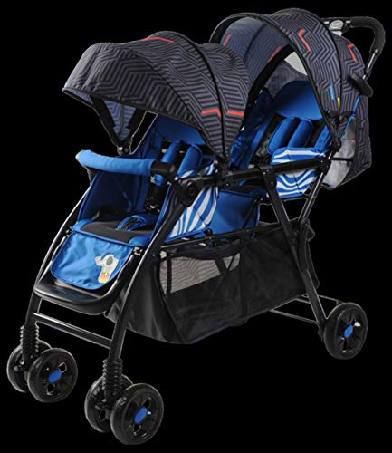 JHSHENGSHI Zwillings- und Geschwisterwagen, Zwillings buggys - Leichte Sitzbuggys - Kinderwagen Sonnenschirm - Kinderwagen Buggy - Doppelkinderwagen, Blue