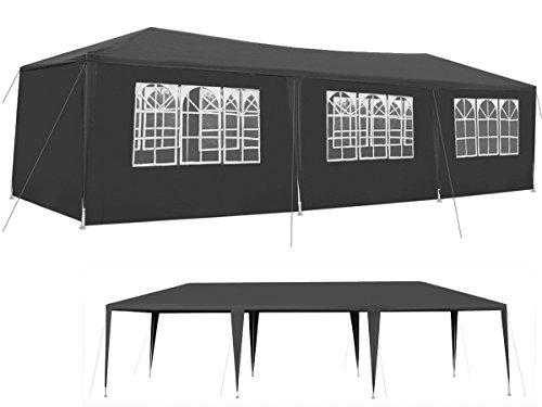 Garten-Pavillon 3x9m inkl. 8 Seitenteile Stabile Metall-Stangen Party #5521, Farbe:Dunkelgrau