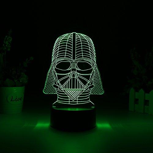 Generico Darth Vader 3d LED Light–7Colors, 2Light Modes, Power Through Micro USB oder AA Batteries, 5Watt