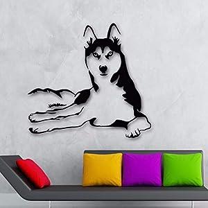 centros veterinarios mascotas: Yologg 53X57Cm Pegatinas De Pared Decoración Del Hogar Vinilo Perro Husky Animal...