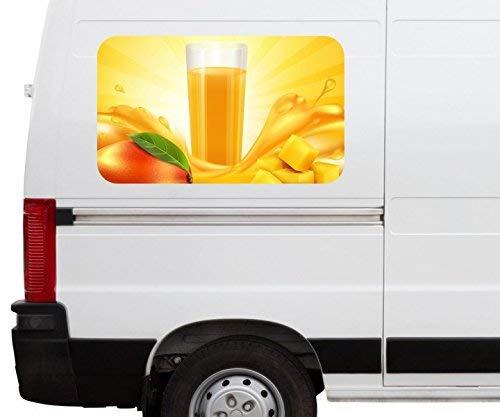 Autoaufkleber Mango abstrakte Kunst orange Obst Frucht Saft Car Wohnmobil Auto tuning Digital Druck Fenster Sticker LKW Bild Aufkleber 21B446, Größe 3D sticker:ca. 161cmx 96cm -