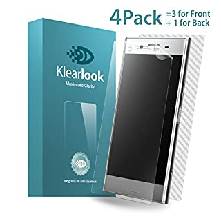 Klearlook 3 Full Cover Screen Films for Sony Xperia XZ Premium, 3-Full Transparent Edge to Edge Screen Protector for Front + 1-Full Coverage Carbon Fibre Sticker for Back for Sony Xperia XZ Premium