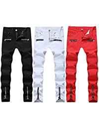 9fd7ab746a4 Men s slim jeans Men s Trousers Jeans Slim Relaxed Straight-Fit Casual  Pants Leisure (Color