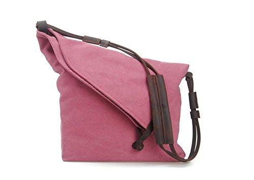YAAGLE Damen Schultertasche Leinwand Unisex Umhängetasche retro Messenger Bag Mädchen Handtasche Canvas Tasche Herren Büffelleder Geldbörse pink