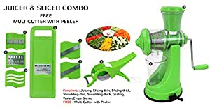 BluZon Premium Kitchen Tools Combo of Green Manual Juicer, 6 in 1 Slicer and Veg Cutter with Peeler