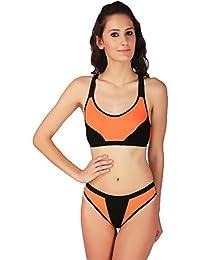 6840a04962c9a URBAANO Womens  Polycotton Fluorescent Sports Bra and Panty Set  (URA1500S-34B