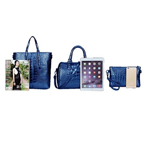 Honeymall Borse Donna Set, 3 pezzi Borse a Mano goffratura Ecopelle Blu scuro blu scuro