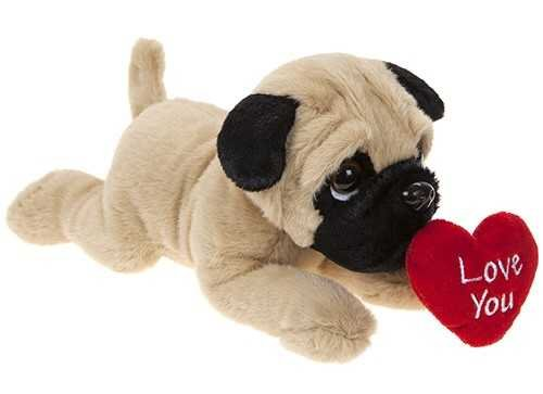 Valentines Pug Soft Plush Toy Dog Laying With Love You Heart 23cm Gift