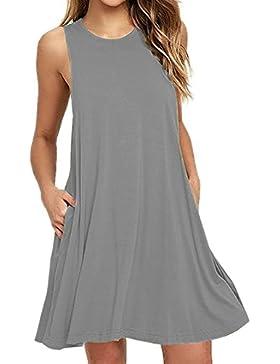Donna casual senza maniche Vestito Tasche t-shirt da estate Vestiti