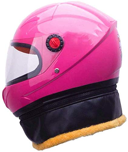 Winter Wärmeschutzhelm, Kindermotorradhelm Leichte Schutzhelm for 3-8 Jahre alt Kinder HD Anti-Fog-Objektiv 50-53cm xtrxtrdsf (Color : Pink)